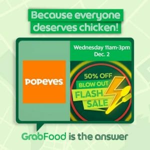 Popeyes - Blow Out Flash Sale: Get 50% Off on Orders via GrabFood