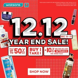 Watsons - 12.12 Deal: Get Up to 50% Discount, Buy 1 Take 1 plus 10% Off