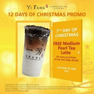 Yi Fang - Get FREE Medium Pearl Tea Latte for Every 2 Large Drinks Purchase