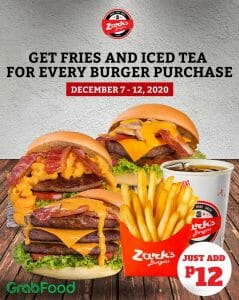 Zark's Burgers - 12.12 Deal: Get Fries and Iced Tea for ₱12 For Every Burger Purchase