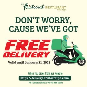 The Aristocrat Restaurant - FREE Delivery Promo