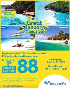Cebu Pacific Air - The Great January Seat Sale: As Low As ₱88 Base Fare