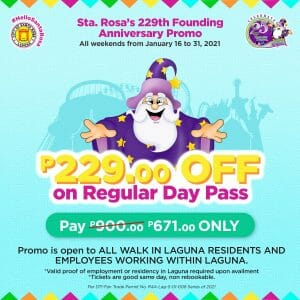 Enchanted Kingdom - ₱229 Off on Regular Day Pass