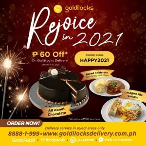 Goldilocks - Get ₱60 Off with a Minimum Delivery Purchase of ₱600