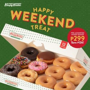 Krispy Kreme - Happy Weekend Treat: Pre-Assorted Mixed Dozen for ₱299 (Save ₱126)