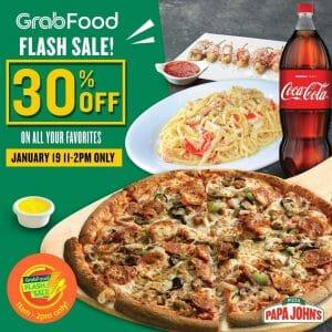 Papa John's - Grabfood Flash Sale: Get 30% Off