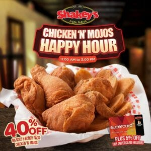 Shakey's - Happy Hour: Get 40% Off on Chicken 'N' Mojos