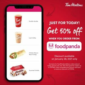 Tim Hortons - Get 50% Off on Orders via Foodpanda
