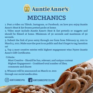 Auntie Anne's - Heat and Eat Frozen Packs at Home Contest