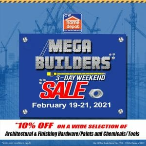 CW Home Depot - Mega Builders Sale: Get 10% Off