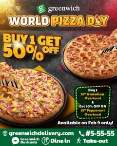 Greenwich Pizza - World Pizza Day: Buy 1 Get 50% Off Promo
