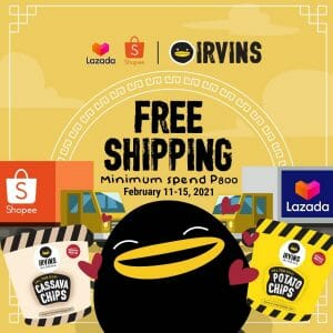 Irvins - FREE Shipping with Min Spend of ₱800 via Lazada and Shopee
