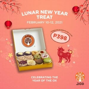 J.CO Donuts & Coffee - Lunar New Year Treat: 1 Dozen Mixed Donuts and J.Club for ₱398