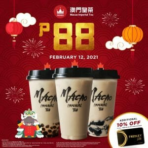 Macao Imperial Tea - CNY Promo: Get Selected Drinks for ₱88