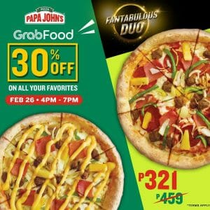 Papa John's Pizza - Get 30% Off via GrabFood
