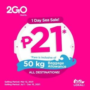 2GO Travel - 1-Day Sea Sale: ₱21 Fare on All Destinations