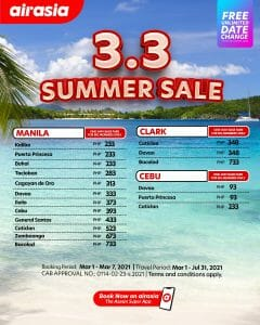 AirAsia - 3.3 Summer Sale Promo