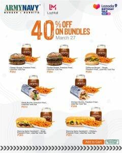 ArmyNavy Burger + Burrito - Get 40% Off on Bundles via Lazada