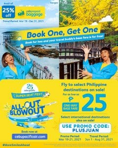 Cebu Pacific - Book 1 Get 1 Promo for As Low As ₱25 Base Fare