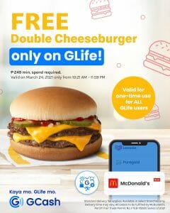 GCash - Get a FREE McDonald's Double Cheeseburger from GLife