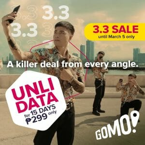 GOMO - 3.3 Deal: Get Unli Data for 15 Days for ₱299