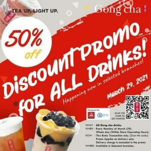 Gong cha - Get 50% Off on All Drinks via Botty