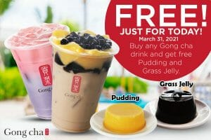 Gong cha - FREE Pudding and Grass Jelly with Any Drink Purchase
