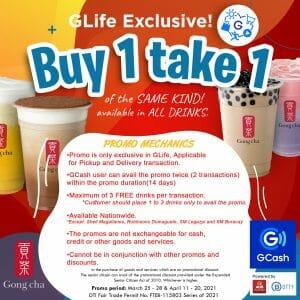 Gong cha - Buy 1 Take 1 Promo via GLife