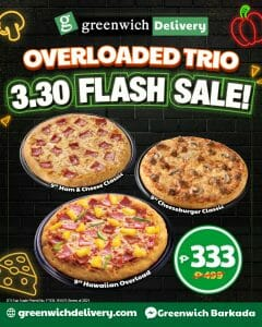 Greenwich Pizza - Overloaded Trio: Get 3 Pizzas for ₱333