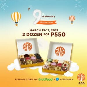 J.CO Donuts & Coffee - Get 2 Dozen for ₱550 via GrabFood and FB Messenger