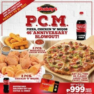 Shakey's - Get the PCM Anniversary Blowout Bundle for ₱999 (Save ₱833)