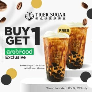 Tiger Sugar - Buy 1 Get 1 Brown Sugar Café Latte via GrabFood