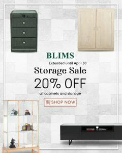 BLIMS - Storage Sale Extended: Get 20% Off All Cabinets and Storage