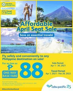 Cebu Pacific Air - Affordable April Seat Sale for As Low As ₱88
