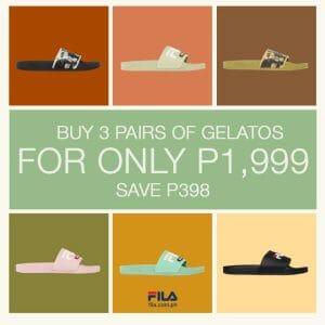 FILA - Buy 3 Pairs of Gelatos for ₱1,999