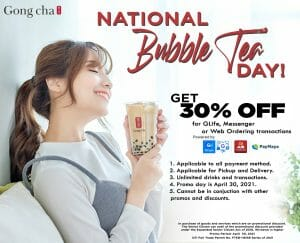 Gong cha - National Bubble Tea Day Promo: Get 30% Off