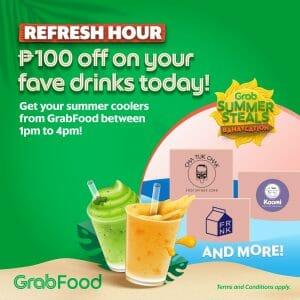 GrabFood - April 29 Summer Steals Bahaycation Refresh Hour: Get ₱100 Off Summer Cooler Drinks