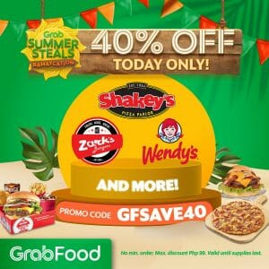 GrabFood - Summer Steals Promo: Get 40% Off