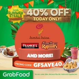 GrabFood - April 23 Summer Steals Bahaycation Promo: Get 40% Off