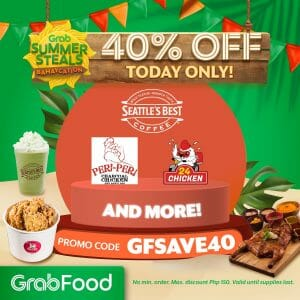 GrabFood - April 25 Summer Steals Bahaycation Promo: Get 40% Off