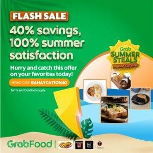 GrabFood - April 28 Summer Steals Bahaycation Flash Sale: Get 40% Off on all Restaurants
