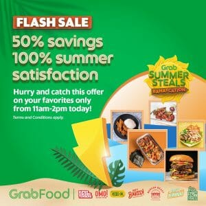 GrabFood - April 30 Summer Steals Bahaycation Flash Sale: Get 50% Off