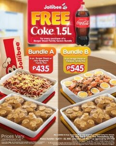 Jollibee - Get FREE 1.5L Coke for Every Burger Steak Family Savers Bundle