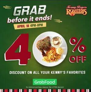Kenny Rogers Roasters - Get 40% Off on Orders via GrabFood