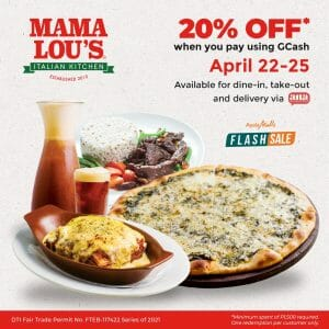 Mama Lou's Italian Kitchen - Get 20% Off on Orders When Paid Using GCash