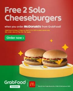 McDonald's - FREE 2 Solo Cheeseburgers for Orders via GrabFood