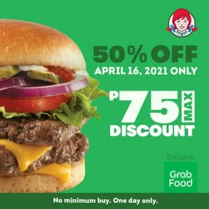 Wendy's - Get 50% Off on Orders via GrabFood