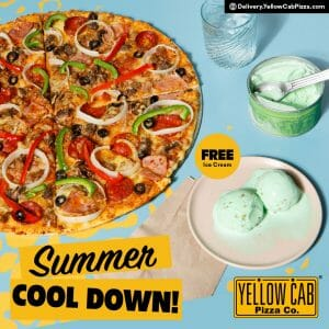 Yellow Cab Pizza - Get FREE Ice Cream for Select Pizza Purchase
