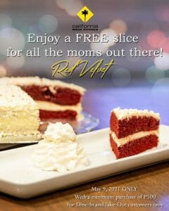 California Pizza Kitchen - Mother's Day: Get a FREE Slice of Red Velvet Cake