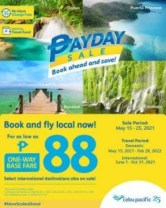 Cebu Pacific - Payday Sale: For As Low As P88 One-Way Base Fare